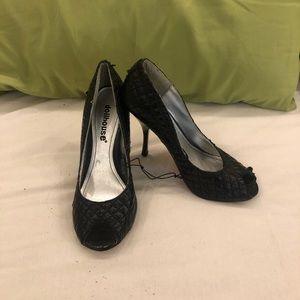 NEVER WORN. Black, DOLLHOUSE, peep toe heels.